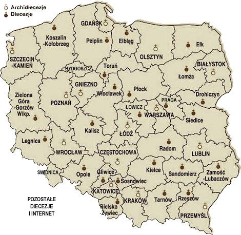 Mapa diecezji w Polsce